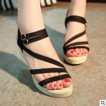 5d80d8889f60 Korean style shoes casual PU design best selling ladies summer wedge sandals