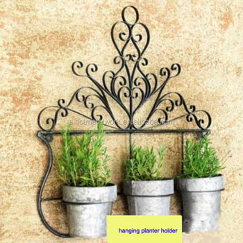 Decorative Wrought Iron Planters Vintage Flower Pot Holder Metal Wall Mounted Planter