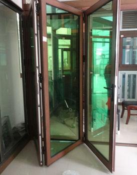 Reflective Green Glass Door, Modern Aluminium Folding Door, Bi Fold Glass  Door