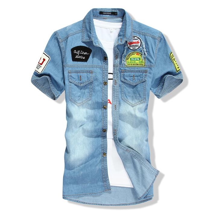 0092ca5df6 Get Quotations · Men Patchwork Embroidery Washed Vintage Casual Dress Denim  Shirts 2015 Mens Short Sleeve Pockets Swag Slim