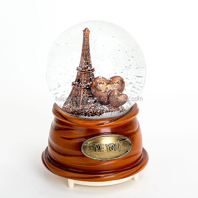 65mm Dandelion Wooden Base Happy Birthday Music Box Snow Globe No Water Flower Crystal Snow Ball Globe