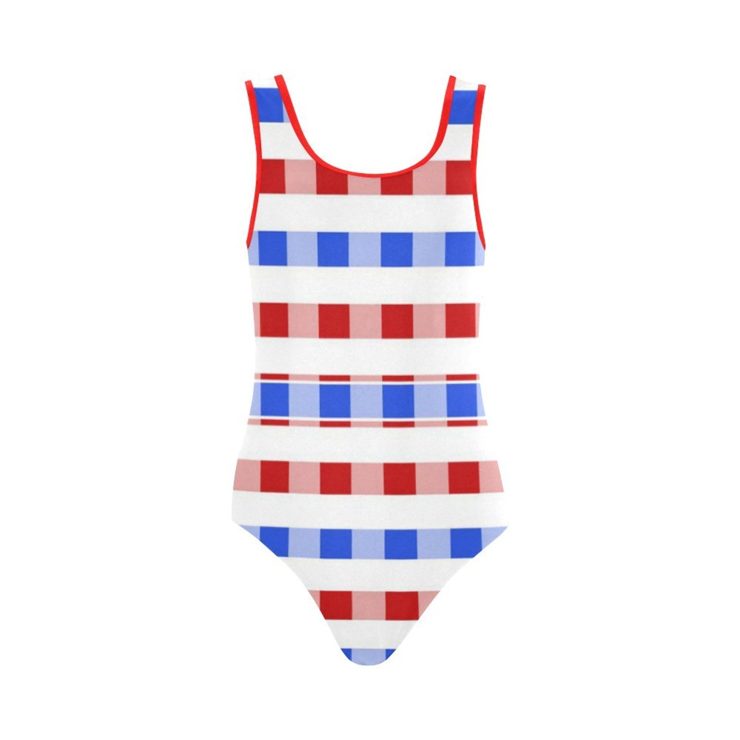 2aef1d2449ba5 Get Quotations · Find Arts Customized Red White Blue Square Pattern Swimsuit  Vest One Piece Swimsuit Bathing Suit Beachwear