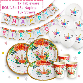 Unicorn Birthday Party Supplies Decorations Set Disposable Tableware Kit