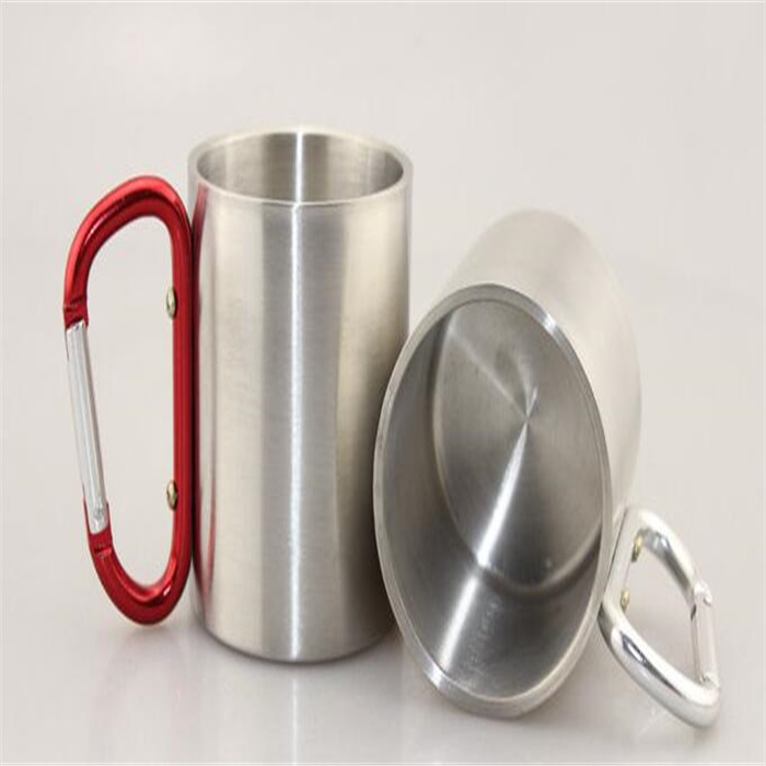 wholesale stainless steel coffee mug with carabiner handle