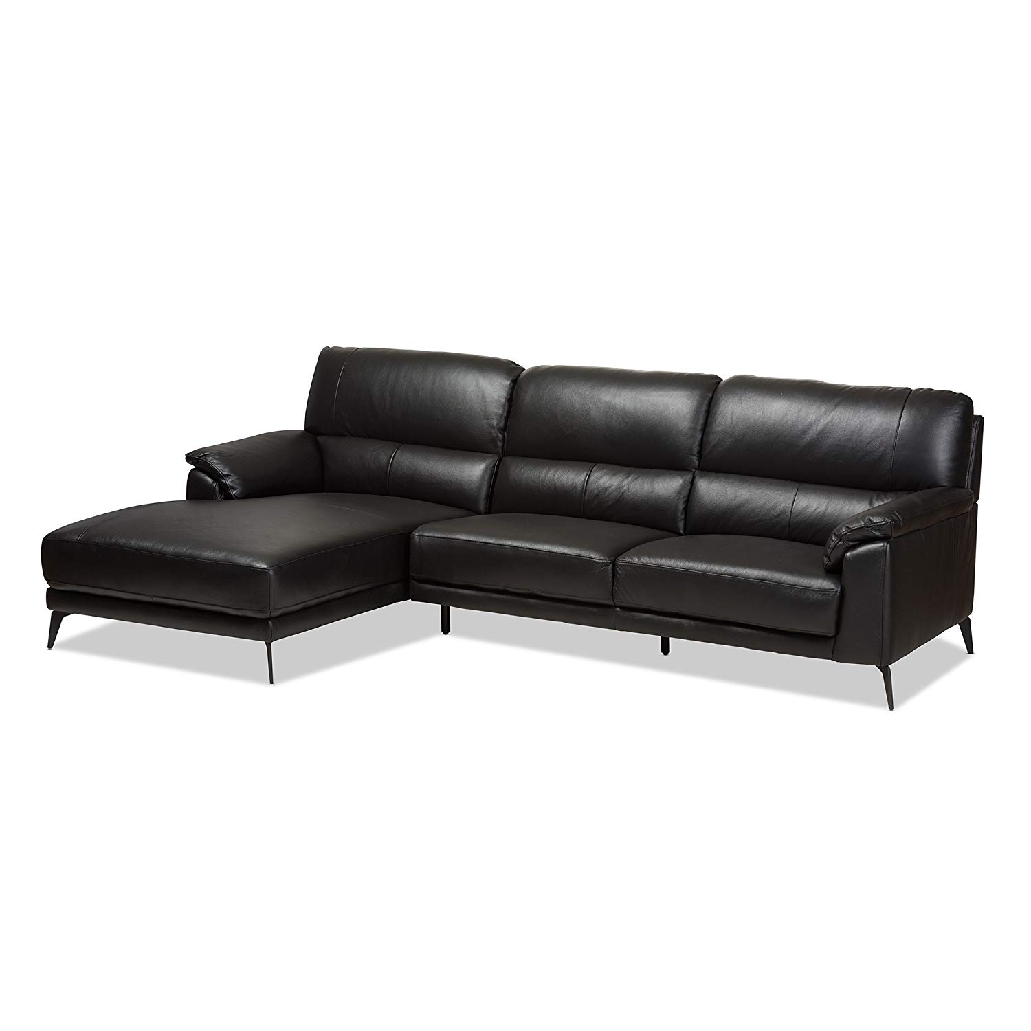 Baxton Studio Radford 2 Piece Leather Left Facing Sectional in Black