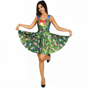 ladies 3d skater green christmas tree printed sexy sleeveless girl dress - Green Christmas Dress