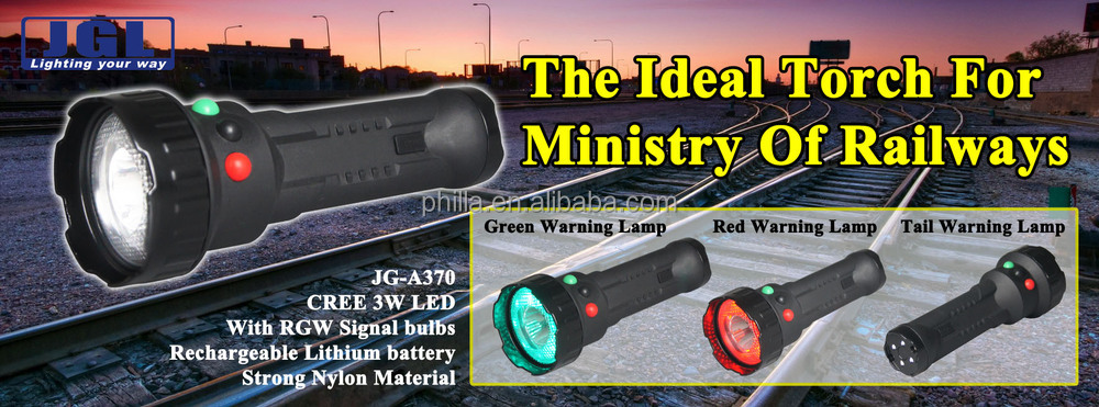 JG-A370 Railway white/red/green LED Signal Flashlight for rescue search light
