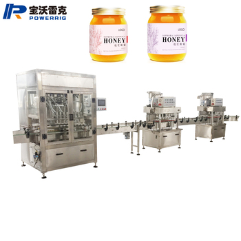 Automatic small food honey bottle sticker glass jar filling sealing capping and labeling machine for honey liquid