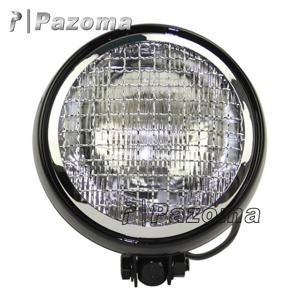 "Pazoma hot selling grill design modern headlight round headlight 7.7"" Black & Chrome Headlight for Triumph Cafe Racer Scrambler"