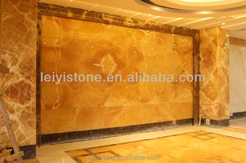 China 18mm Yellow Honey Onyx Marble Slab For Background Wall Tile