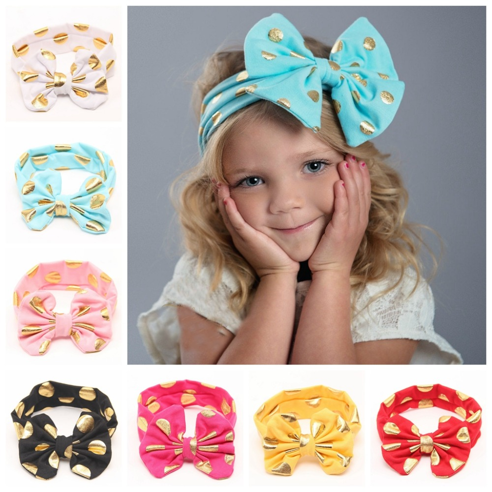 Free shipping 10 pcs lot Gold Polka Dot Messy Bow Head Wrap Metallic Bow Headband