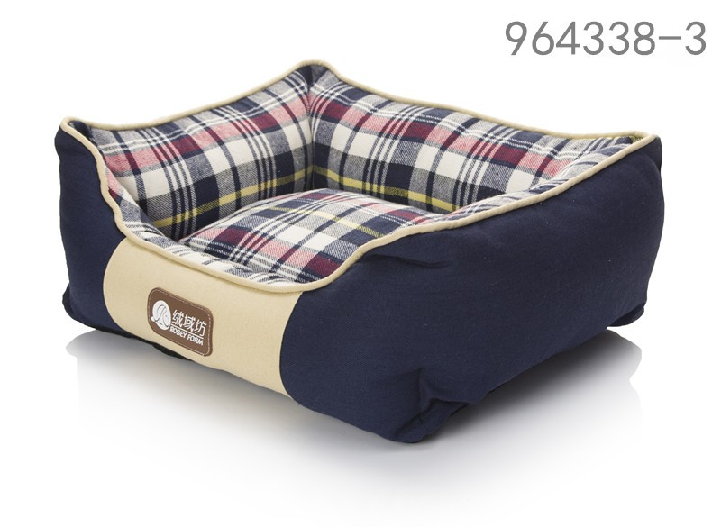 ODM pet dog bed cool plaid canvas dog bed