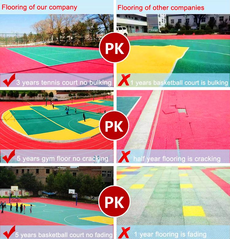 Lantai Tikar untuk Tenis Meja Lantai Plastik Ubin Lantai Rumput Sintetis untuk Lapangan Hoki
