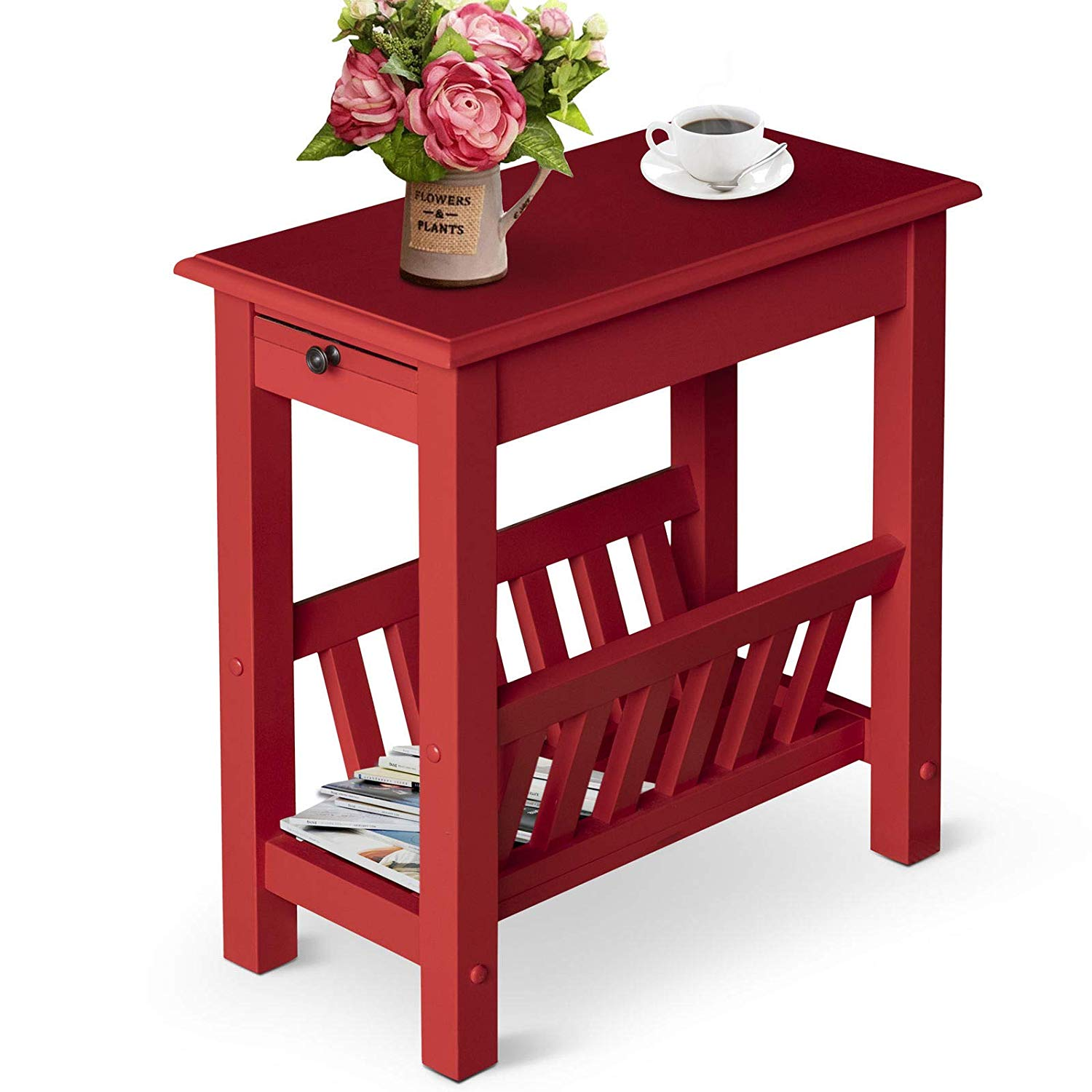 Modern Acacia Wood End Table Side Desk Living Room Organizer with Tray 2-Tier Red