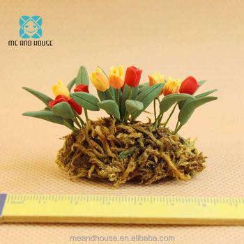 1 12 Dollhouse Miniature Clay Plants Garden Ready Yellow Red Tulip