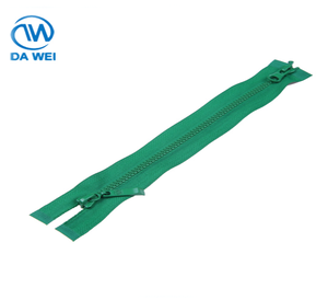 DAWEI brand Latest Fancy Different Types soft zipper pull number 3 plastic two way green zipper