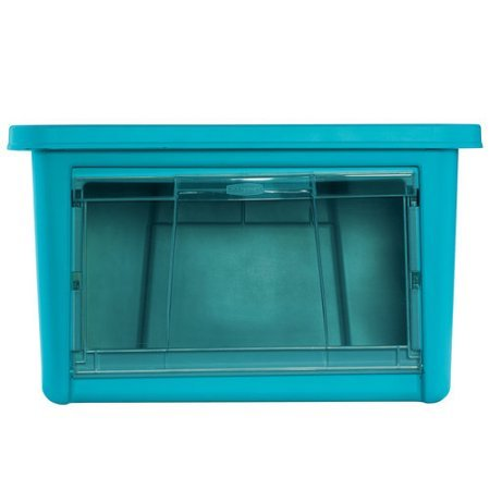 Rubbermaid 11-Gallon (44-Quart) Storage Bins and Containers Organizer with Clear Drop-down Door, Turquoise