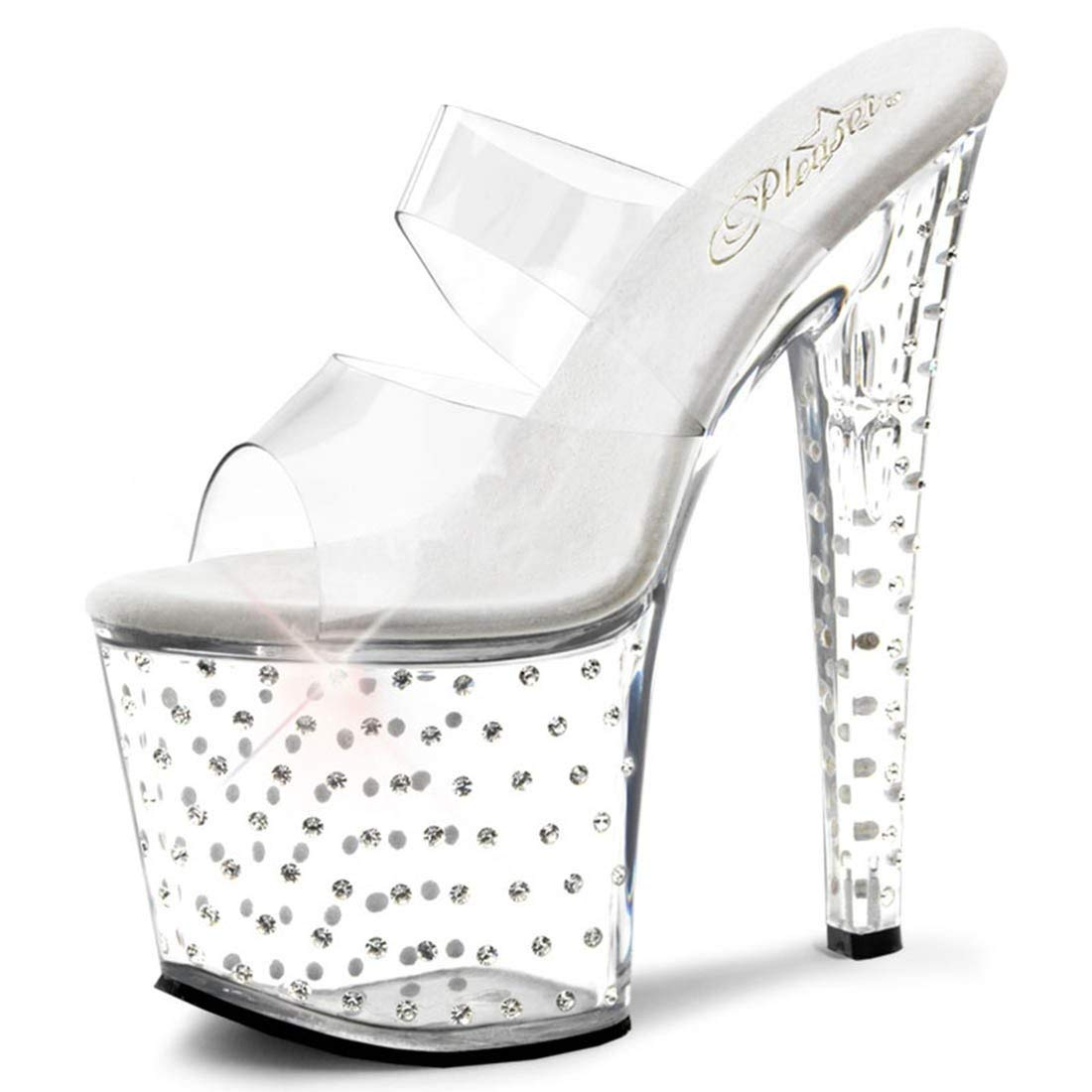 f3d95884c8 Get Quotations · Summitfashions Clear See Through Rhinestone High Heels  with Clear Top Straps and 7.5 Inch Heel
