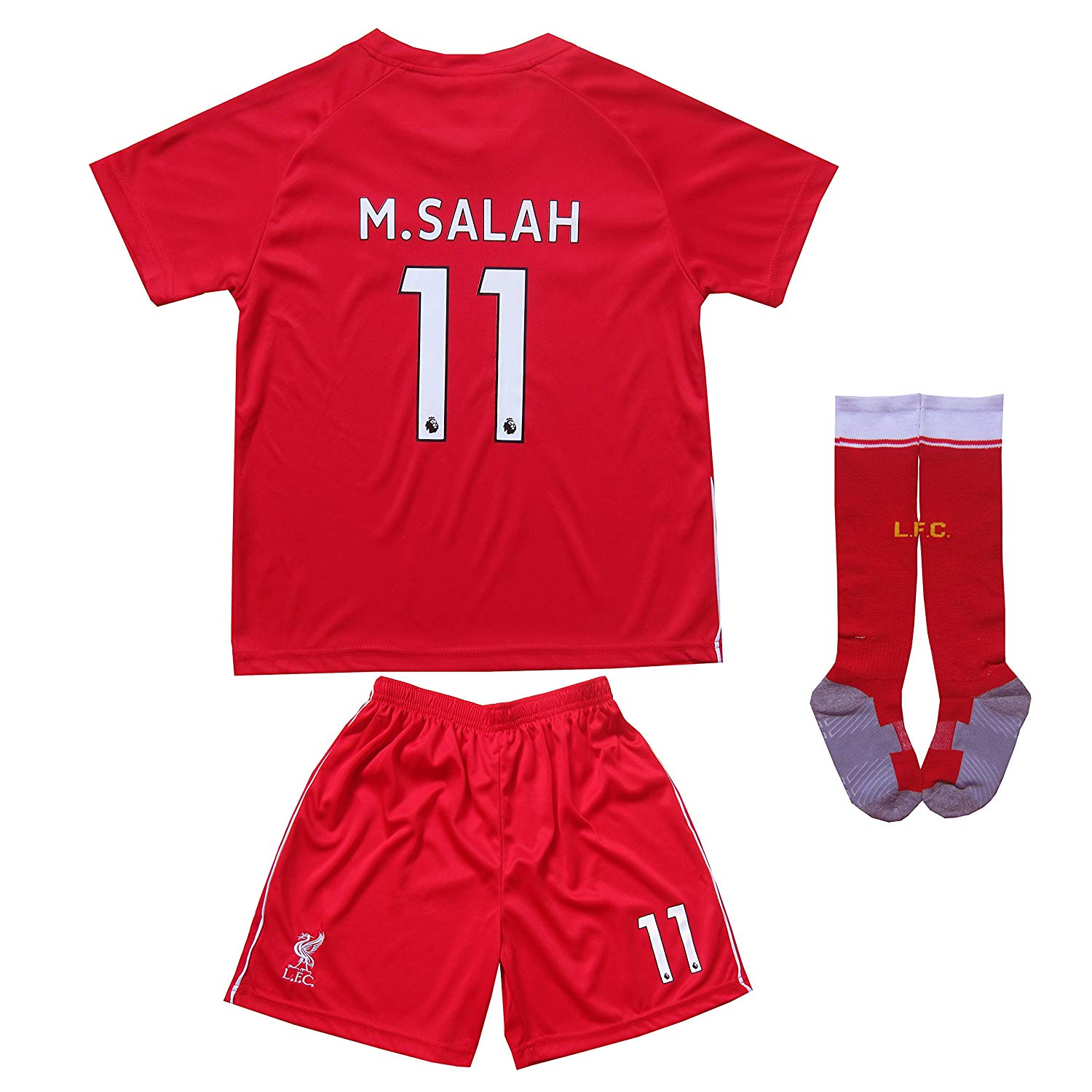 a23204623 LES TRICOT 2018/2019 Liverpool Home #11 SALAH Football Futbol Soccer Kids  Jersey Shorts