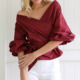 Loose style long sleeve shirt drawstring off shoulder top backless ropa mujer