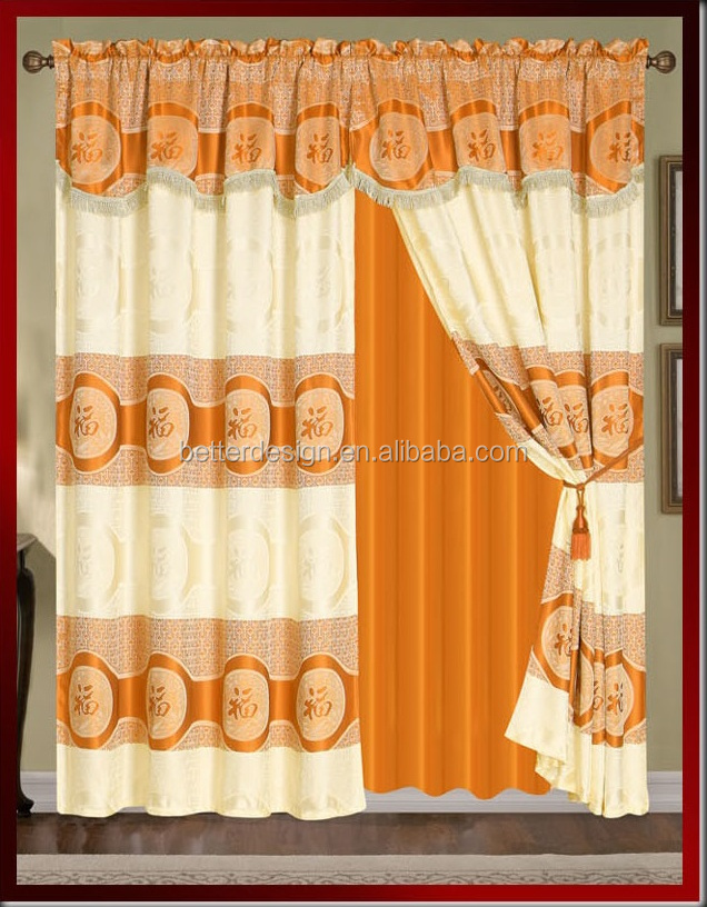 100% polyester Luxury window curtain with fancy valance