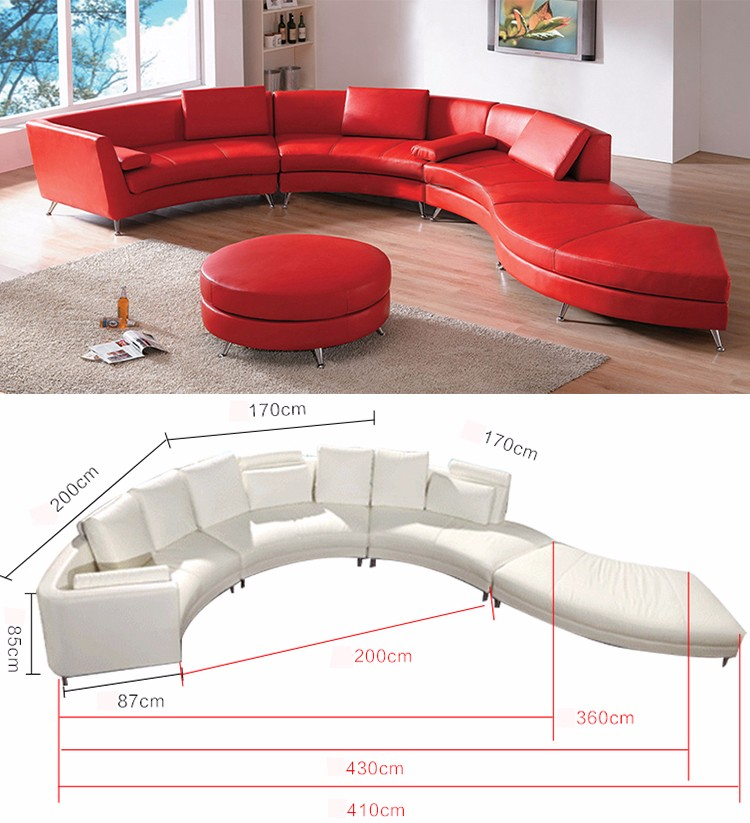 Modern Design European Sectional Curved C Shaped Genuine