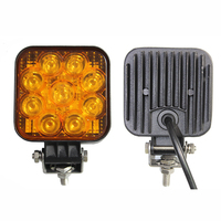 3in 27W Square Mini LED Work Light for Fog Lights - White Amber Light - for Offroad ATV Jeeps 4x4 Tractor Agricultural Machine