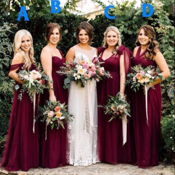 Zh2886g Modest Burgundy Tulle Long Country Bridesmaid Dresses Off Shoulder Pleats Summer Garden Wedding Party