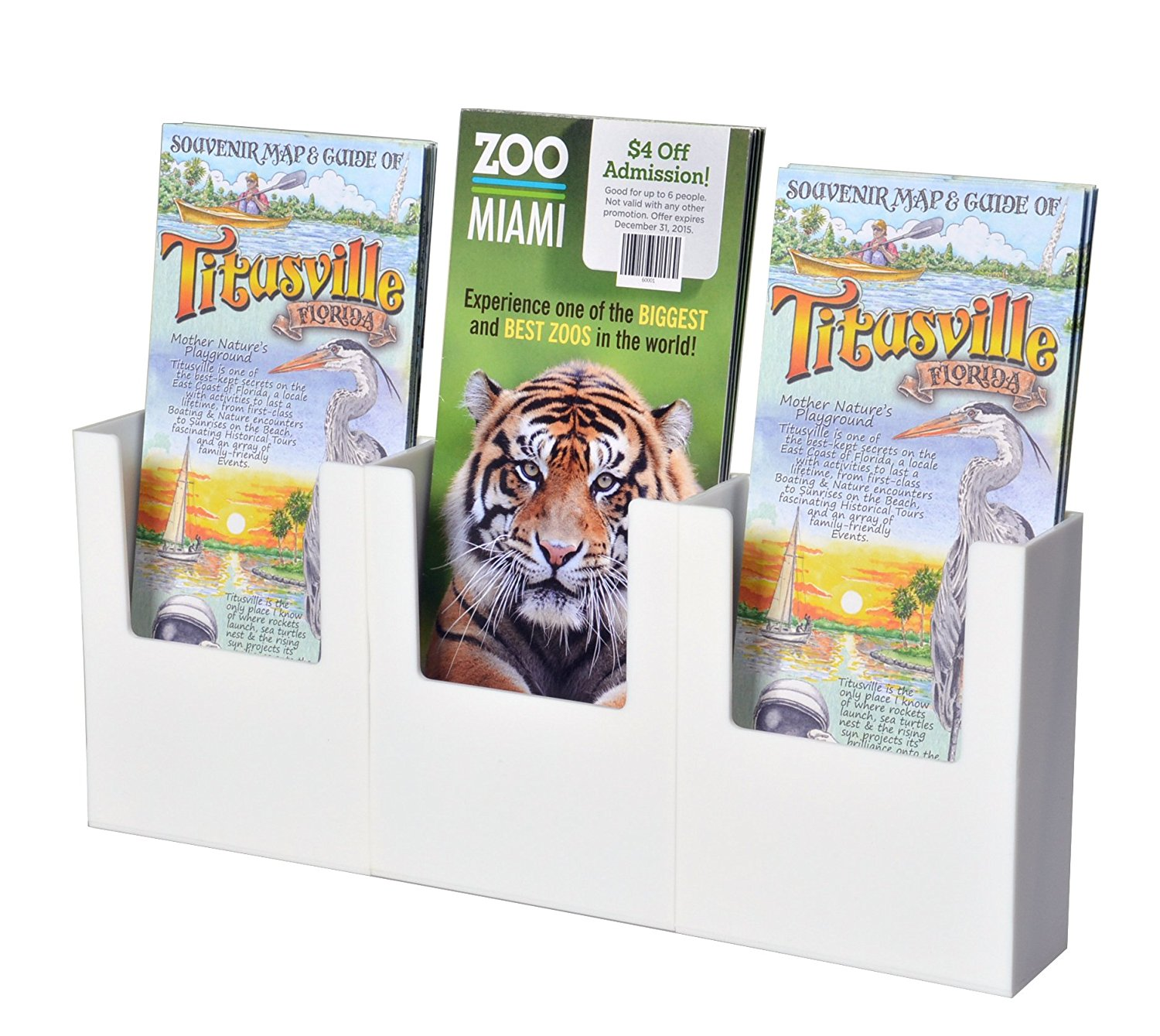 """Marketing Holders 3 Pocket White Acrylic Counter Table Top Expos or Dhow Tri Fold Stand Brochure Holder for 4"""" w Literature"""