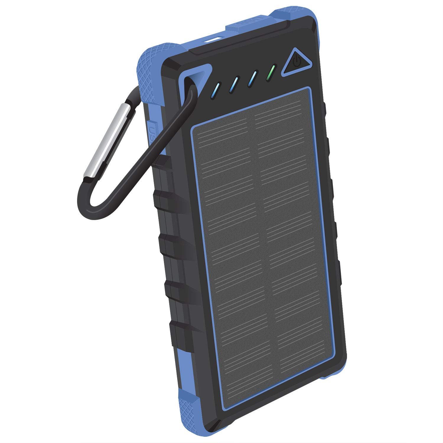 8,000mAh Solar Power Bank Built in Status Display Dual USB Ports Shock Wather Proof Blue Compatible iPhone Xr