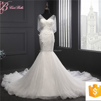 Alibaba Guangzhou Factory Mermaid Wedding Dress Lace Embroided With Long Train
