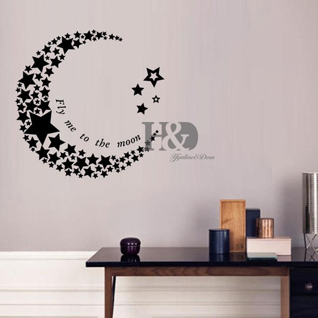 acheter croissant de lune toiles salon autocollant chambre pvc art mural vinyle. Black Bedroom Furniture Sets. Home Design Ideas