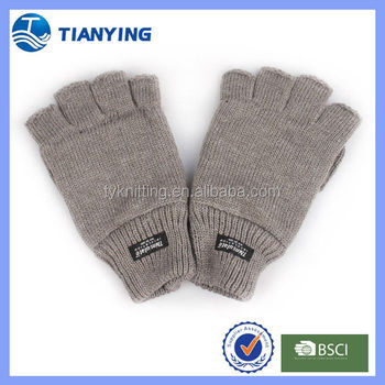 Mens Knitted Fingerless Gloves With Leather Palm Buy Knitted