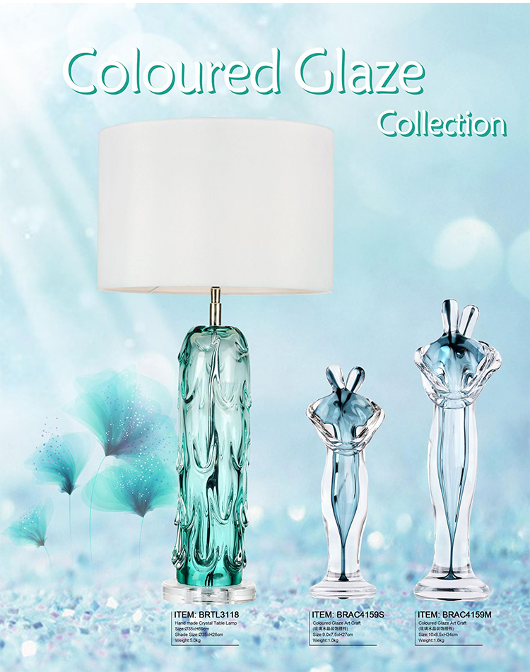 Crystal Table Lamp Green Blown Glass Table Lamps for Hotel  Living Room with Fabric Shade