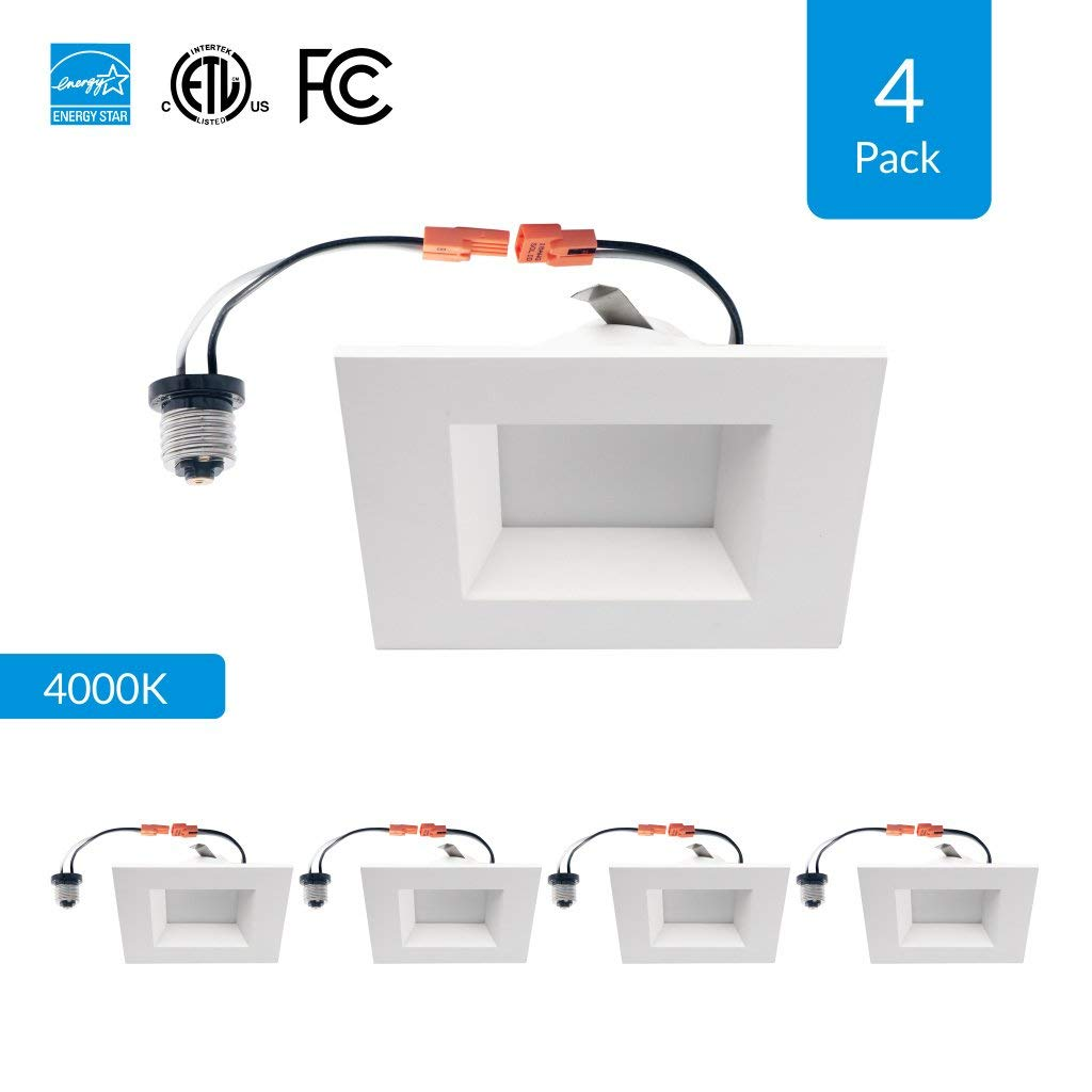 """4-Pack 4-inch Dimmable LED Square Downlights, 9W Retrofit (Replace 65W), CRI 90+ (High CRI), 4000K (Cool White), 4"""" Square Retrofit Design, 600 Lumens, cETLus, Energy Star & FCC approved"""