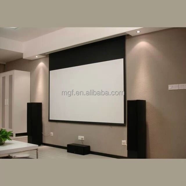 Hidden In Ceiling Electric Projection Screen With Remote