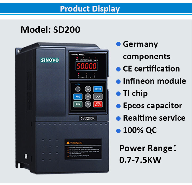 Single Phase 1 HP 0.75kw DC to AC VFD Variable Frequency Drive Motors AC Drives