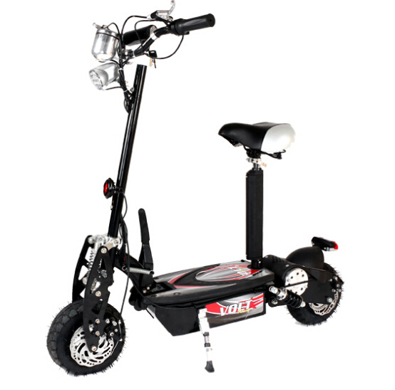 Two electric scooters portable mini compact folding ...