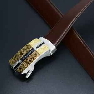 luxury Ratchet belt Men brown genuine leather belt with stainless steel Automatic Buckle