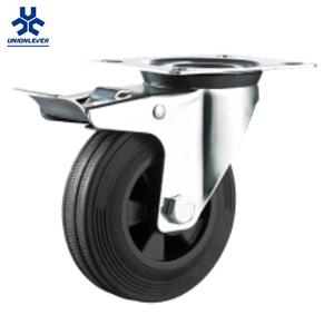 Garbage Bin Industrial Plate Type Swivel Rubber Caster And Wheel With Brakes