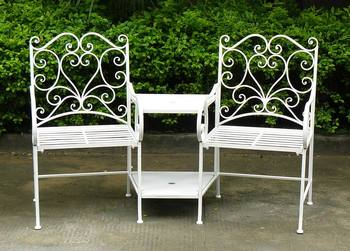 Cream 2 Seater Loveseat Metal Garden Bench   2 Chairs With Table  Love Seat