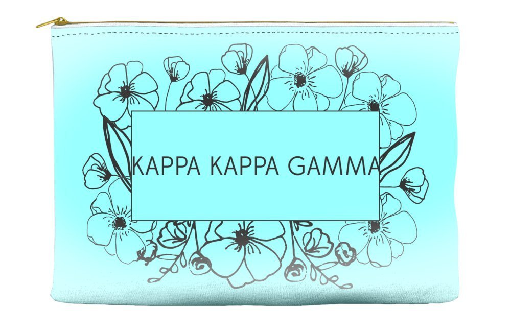 Kappa Kappa Gamma Flower Box Blue Cosmetic Accessory Pouch Bag for Makeup Jewelry & other Essentials
