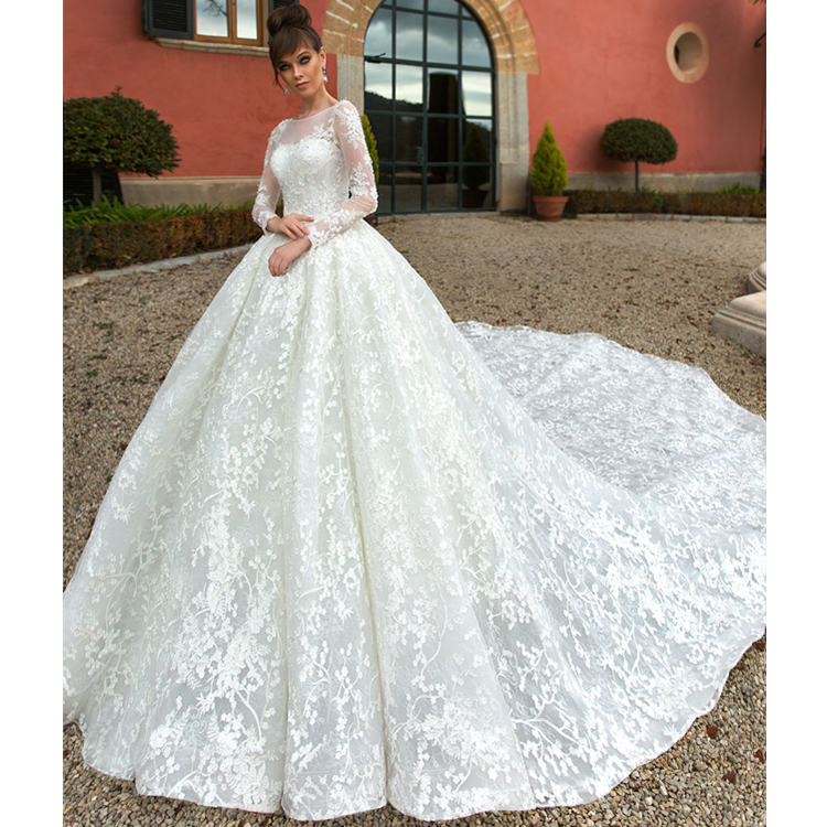 Turkey Newest Wedding Dresses Long Sleeve Crystal Lace Lique Ball Gown Bridal High Quality Muslim 2018 Pattern