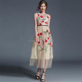 high quality fashion ladies sexy tulle embroidery fairy flower women dress
