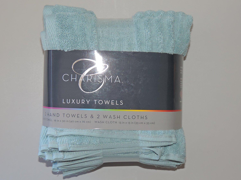 Charisma 4pk Luxury Towels Set: 2 Hand Towels & 2 Wash Cloths , Color: Nile Blue