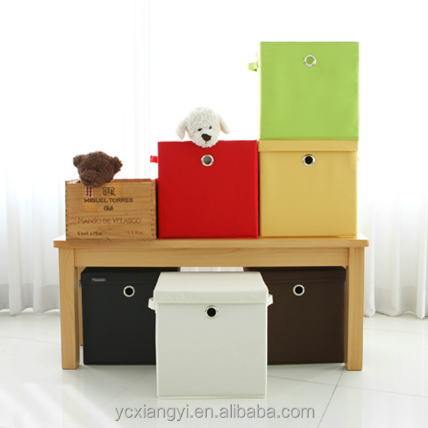 Fashion Stackable Lid Collapsible Non-woven Storage Bin Box, Foldable Fabric Storage Bin Box with Handle