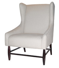 Living room relax white linen European style wing back chair