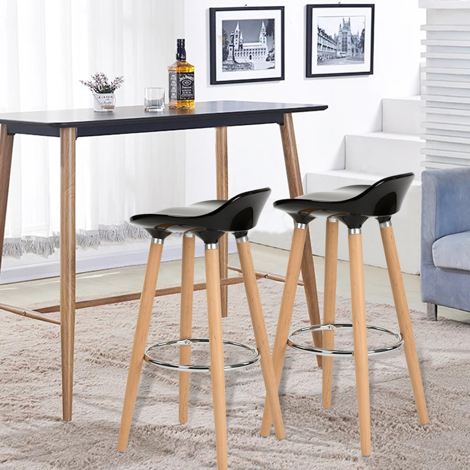 Wo Kitchen Counter Height Bar Stools 32 Inches Black Set Of 2 Tall Barstools For Home