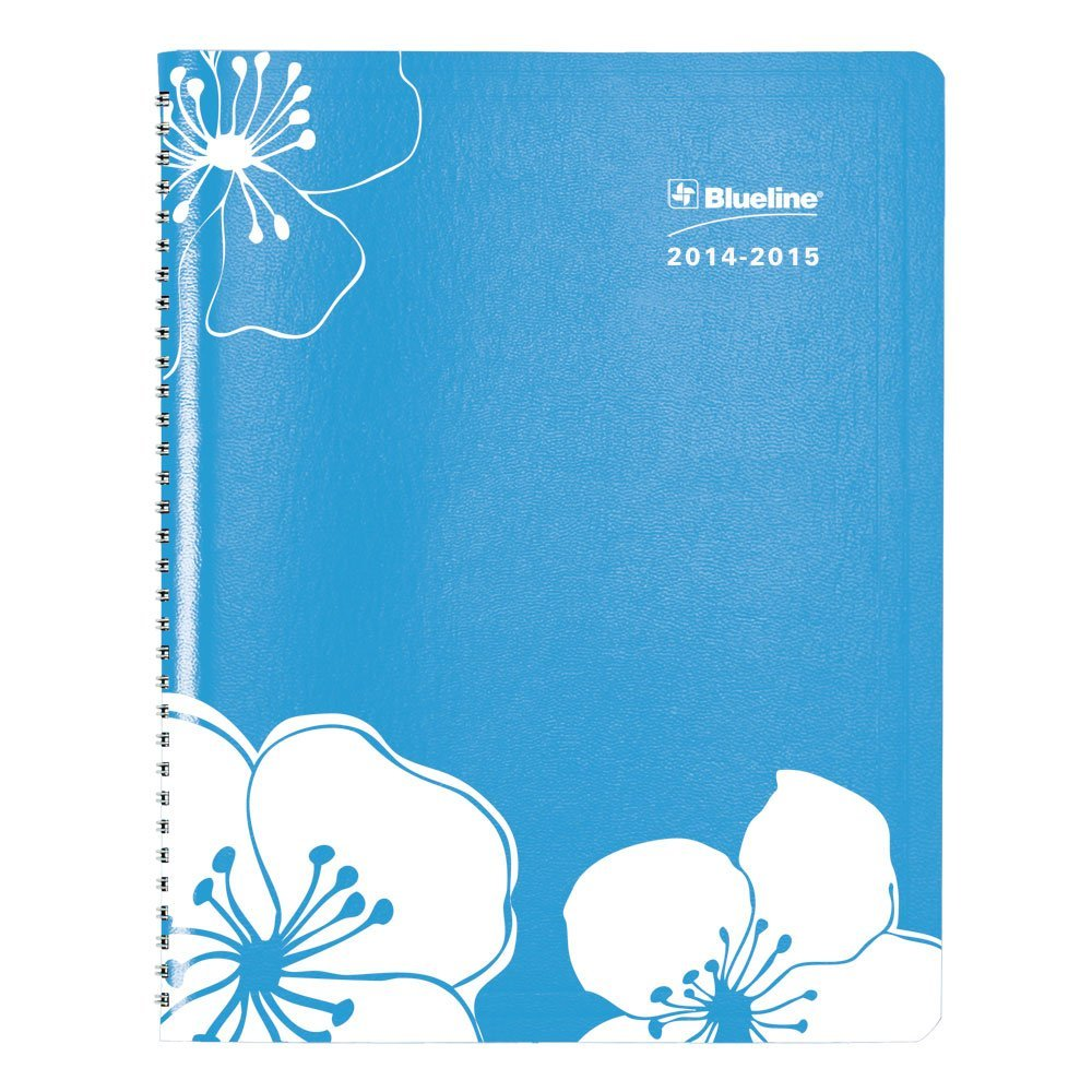 Blueline Silkscreened Academic Weekly/Monthly planner, August 2014 - July 2015, 11 x 8.5 inches, Sky Blue, 1 Planner (CA955.02-15)