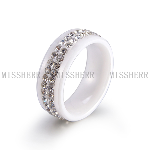 New Fashion Hot selling Jewelry Black Ceramic Ring Wedding Band Ring With CZ Stones SCR100